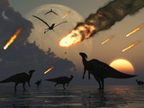 Hadrosaurs Graze Peacefully as Burning Meteors Fall Through the Sky Photographic Print by  Stocktrek Images