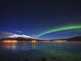 Aurora over Tjeldsundet and Sætertinden Mountain in Norway Photographic Print by  Stocktrek Images