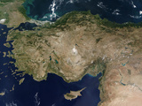 Satellite View of Turkey and the Island of Cyprus, Photographic Print