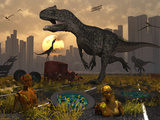 Dinosaurs Run Wild and Robotic Androids Melt into the Highway Photographic Print by  Stocktrek Images