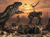 Dinosaurs and Robots Fight a War of the Survival of the Fittest Photographie par  Stocktrek Images