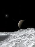 Saturn and Enceladus as Seen from the Moon Tethys Photographic Print by  Stocktrek Images