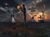 Stocktrek Images - Artist's Concept of a Quest to Find New Forms of Energy - Fotografik Baskı