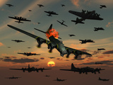 A B-17 Flying Fortress Is Set Ablaze by a German Interceptor Fighter Plane Fotografie-Druck von  Stocktrek Images