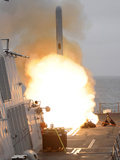 A Tomahawk Missile Launch Aboard USS Sterett Photographic Print by  Stocktrek Images