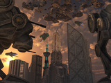 A City of the Future Guarded by Battle Droids Photographic Print by  Stocktrek Images
