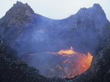 Small Lava Lake in Pit Crater, Pu'u O'o Cone, Kilauea Volcano, Big Island, Hawaii Photographic Print by  Stocktrek Images