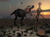 Reptoids Tame Dinosaurs Using Telepathy Photographic Print by  Stocktrek Images