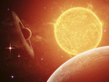 A Planet and its Moon Resisting the Relentless Heat of the Giant Orange Sun Pollux Photographic Print by  Stocktrek Images