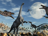 A Lone Camarasaurus Dinosaur Is Confronted by a Pack of Velociraptors Photographic Print by  Stocktrek Images