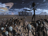 Alien Explorers on an Alien World Photographic Print by  Stocktrek Images
