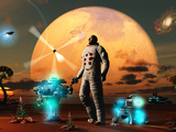 An Astronaut Discovers a World with an Earth Type Environment Photographic Print by  Stocktrek Images