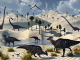 Dinosaurs Gather at a Life Saving Oasis Photographic Print by  Stocktrek Images