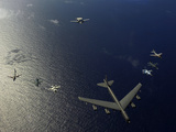 A U.S. Air Force B-52 Stratofortress Aircraft Leads a Formation of Aircraft Photographic Print by  Stocktrek Images