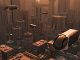 A Conceptual Image of a Futuristic City Photographic Print by  Stocktrek Images