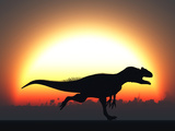 A Silhouetted Allosaurus Sprinting Against a Setting Set at the End of a Jurassic Day Photographic Print by  Stocktrek Images