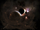 A Planet's Population Fleas in Panic from a Massive Black Hole Photographic Print by  Stocktrek Images