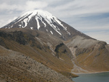Ngauruhoe Cone and Upper Tama Lake, Tongariro Volcanic Complex, New Zealand Photographic Print by  Stocktrek Images