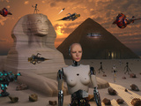 Artist's Concept of the Pyramids and Sphinx Being Built by an Advanced Alien Race Photographic Print by  Stocktrek Images