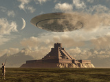 A Reptoid Greets an Incoming Flying Saucer Above a Pyramid. Reprodukcja zdjęcia autor Stocktrek Images