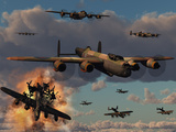 Lancaster Heavy Bombers of the Royal Air Force Bomber Command Fotografie-Druck von  Stocktrek Images