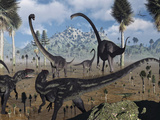 Two Allosaurus Predators Plan their Attack on a Young Omeisaurus Photographie par  Stocktrek Images