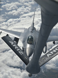 An F-16 from Colorado Air National Guard Refuels from a U.S. Air Force Kc-135 Stratotanker Photographic Print by  Stocktrek Images