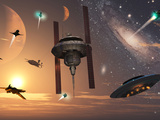 Spaceships Used by Different Alien Races are Scattered Throughout the Galaxy Photographic Print by  Stocktrek Images