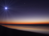 The Moon and Venus at Twilight from the Beach of Pinamar, Argentina Photographie par  Stocktrek Images