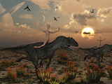 Reptoids Race Allosaurus Dinosaurs across the Desert Photographic Print by  Stocktrek Images