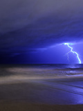 A Bolt of Lightning from an Approaching Storm in Miramar, Argentina Photographic Print by  Stocktrek Images