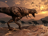 A T-Rex Plans His Attack on a Herd of Parasaurolophus Dinosaurs Photographic Print by  Stocktrek Images