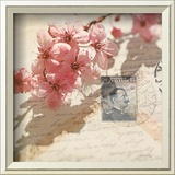 Vintage Letters and Cherry Blossoms Print by Deborah Schenck