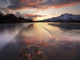 A Frozen Straumen Lake on Tjeldøya Island in Nordland County, Norway Photographic Print by  Stocktrek Images