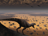 A Lone T. Rex Looks Down on a Large Herd of Triceratops Photographic Print by  Stocktrek Images