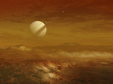 Saturn Above the Thick Atmosphere of its Moon Titan Photographic Print by  Stocktrek Images