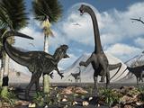 Stocktrek Images - A Carnivorous Allosaurus Confronts a Giant Diplodocus Herbivore During the Jurassic Period on Earth - Fotografik Baskı
