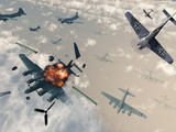 B-17 Flying Fortress Bombers Encounter German Focke-Wulf 190 Fighter Planes Photographic Print by  Stocktrek Images