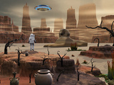 An Astronaut on an Alien World Is Confronted by an Egyptian Sphinx and UFO Photographic Print by  Stocktrek Images
