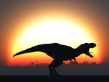 A T. Rex Silhouetted Against the Setting Sun at the End of a Prehistoric Day Stampa fotografica di Stocktrek Images,