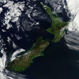 Satellite View of New Zealand Photographic Print by  Stocktrek Images