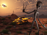 Grey Aliens at the Site of their UFO Crash Photographic Print by  Stocktrek Images