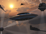 Artist&#39;s Concept of Alien Stealth Technology Photographic Print by  Stocktrek Images