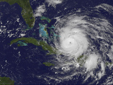 Satellite View of the Eye of Hurricane Irene as it Enters the Bahamas Photographic Print by  Stocktrek Images