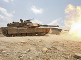 Marines Bombard Through a Live Fire Range Using M1A1 Abrams Tanks Photographic Print by  Stocktrek Images