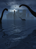 Dinosaurs Feed Near the Shores of the Famed Lost City of Atlantis Photographic Print by  Stocktrek Images