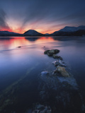 Sunset over Tjeldsundet, Troms County, Norway Photographic Print by  Stocktrek Images