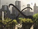 Omeisaurus Sauropods Explore a Mysterious City Which Has Shifted in Time Photographie par  Stocktrek Images