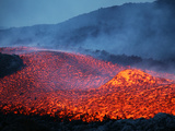 Boulder Rolling in Lava Flow at Dusk During Eruption of Mount Etna Volcano, Sicily, Italy Photographic Print by  Stocktrek Images
