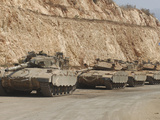 Israeli Defense Force Merkava Mark IV Battle Tanks En Route to Lebanon Photographic Print by  Stocktrek Images